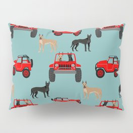 Great Dane jeep car dog breed pattern custom pet portrait Pillow Sham