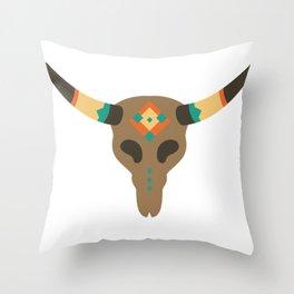 Vintage Bull Skull Throw Pillow