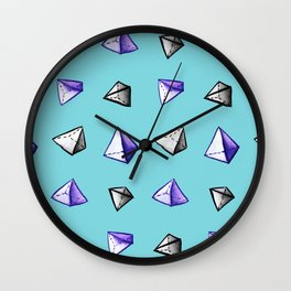 Blue Geometric Watercolor Pyramid Pattern Wall Clock