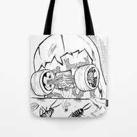 """skate Tote Bags featuring """"Skate"""" by Jorge Daszkal"""