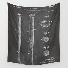 Baseball Bat Patent - Baseball Art - Black Chalkboard Wall Tapestry