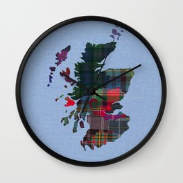 Scotland Counties Fabric Map Art Wall Clock