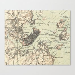 Vintage Map of Portland Maine (1914) Canvas Print