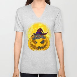 Cute and Scary Kitten In Pumpkin with Witch Hat Unisex V-Neck