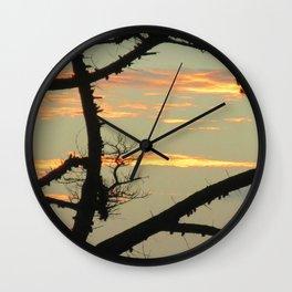 SUNSET BETWEEN A TREE Wall Clock