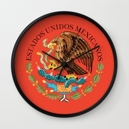 Mexican seal on Adobe red Wall Clock