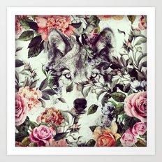 Floral Wolf Art Print
