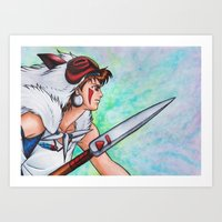 mononoke Art Prints featuring Mononoke by Kimberly Castello