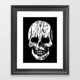 Woodcut Skull Framed Art Print