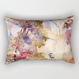 Colorful interior filled with foliage Rectangular Pillow