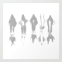 squid Art Prints featuring Squid by Studio ReneeBoute