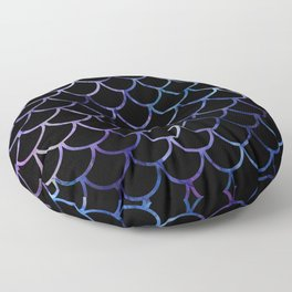 Abstract Black & Purple Fish Scales Floor Pillow