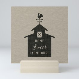 Home Sweet Farmhouse Rustic Farmhouse Style Word Art, Home Sweet Home, Linen Beige Grain Sack Mini Art Print