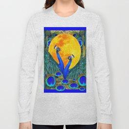 FULL GOLDEN MOON BLUE PEACOCK  FANTASY ART Long Sleeve T-shirt