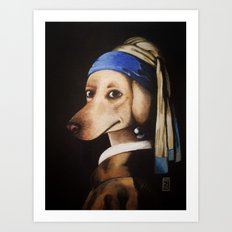 Dog with a Pearl Earring Art Print