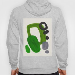 Minimalist Modern Mid Century Colorful Abstract Shapes Olive Green Retro Funky Shapes 60's Vintage Hoody
