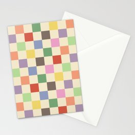 Colorful Checkered Pattern Stationery Cards