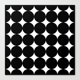 Black circles and white stars Canvas Print