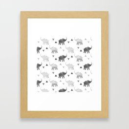 Elephants and Triangles - Silver Framed Art Print