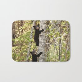 Baby Bears in a Tree Photography Print Bath Mat