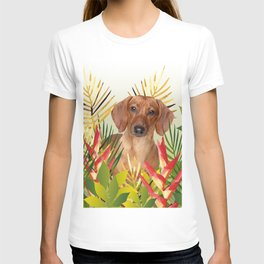 Little Dog with with Palm leaves T-shirt