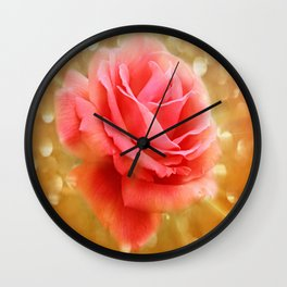 Elegant Golden Rose Glow Wall Clock