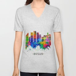 Busan South Korea Skyline Unisex V-Neck
