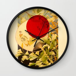 Japanese Ginkgo Hand Fan Vintage Illustration Wall Clock