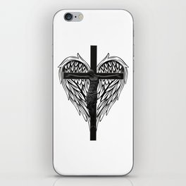 Christian cross and wings iPhone Skin