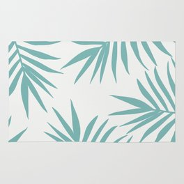 Delicate Green Tropical Leaves Pattern Rug