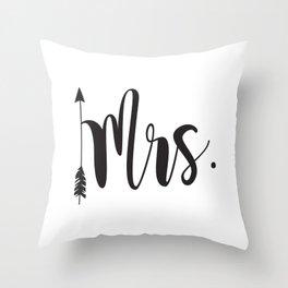 Mrs script arrow engaged married Mr & Mrs Throw Pillow