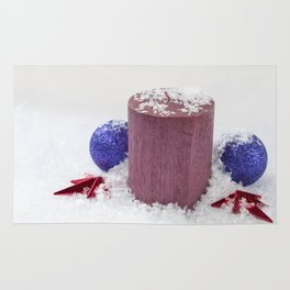 Christmas Candle Snow and Baubles Rug