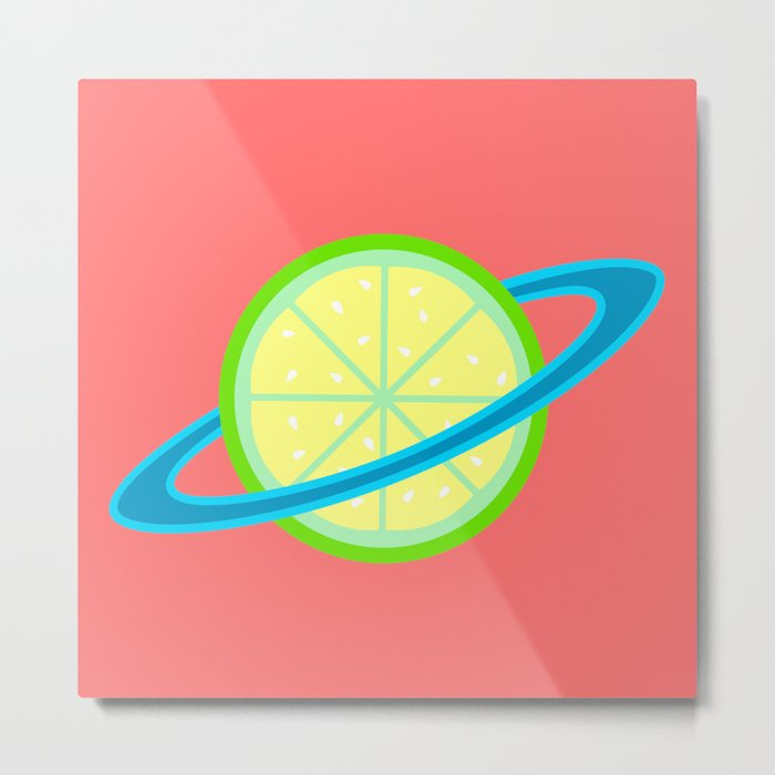 Planet Lime | Lime | Citrus | Fruit | Solar System | Planets | pulps of wood Metal Print