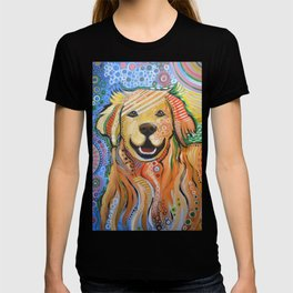 Max ... Abstract dog art, Golden Retriever, Original animal painting T-shirt