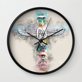 Native American totem pole soft watercolor Wall Clock