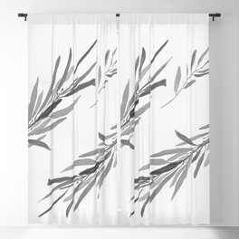 Eucalyptus leaves black and white Blackout Curtain