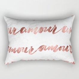 Amour Rose Gold Marble Love Quote Typography Rectangular Pillow
