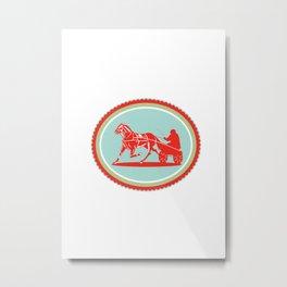 Horse and Jockey Harness Racing Rosette Retro Metal Print