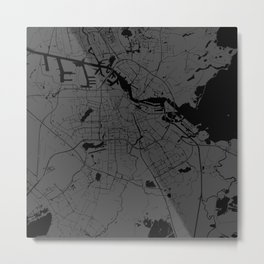 Amsterdam Gray on Black Street Map Metal Print