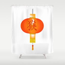 Chinese Year of the Monkey Paper Lantern Shower Curtain