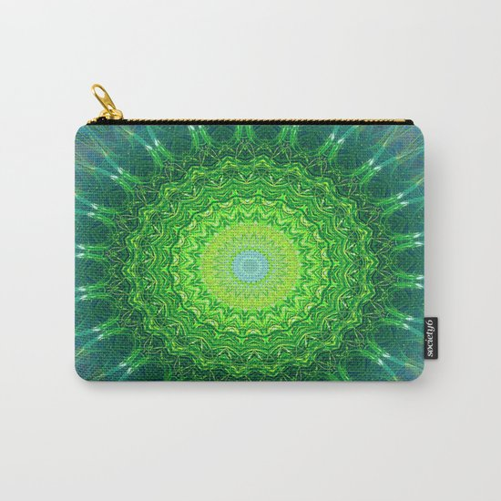 Glowing Green Ribbon Kaleidoscope Carry-All Pouch