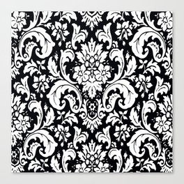 Damask Paisley Black and White Paisley Pattern Vintage Canvas Print