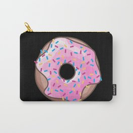 Pink Donut on Black Carry-All Pouch
