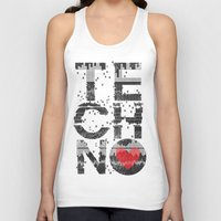 springsteen Tank Tops featuring I love Techno by Sitchko Igor