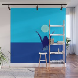 Blue sky and moon is calling me.. Wall Mural