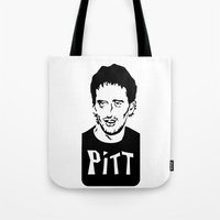 brad pitt Tote Bags featuring Pitt by Chris McArdle