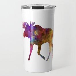 Moose 02 in watercolor Travel Mug