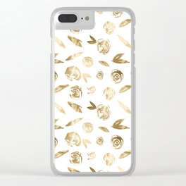 Gold Roses Rosette Pattern Golden on White Clear iPhone Case