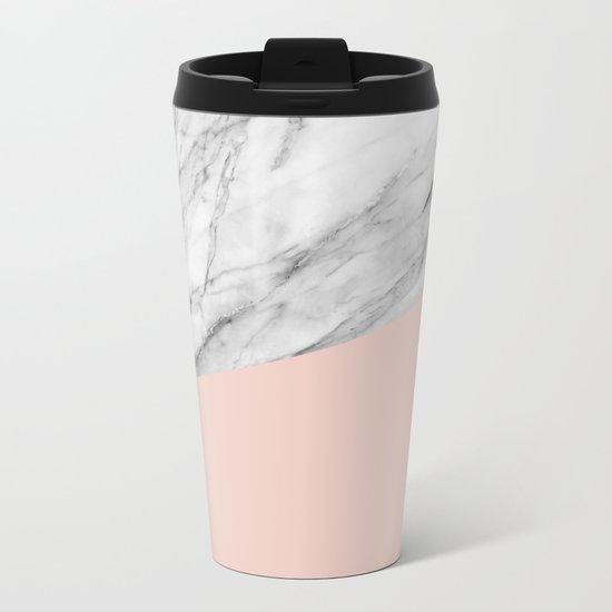 Marble and pale dogwood color Metal Travel Mug
