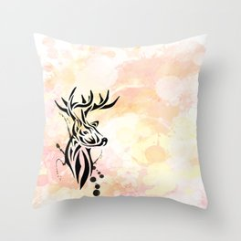 Stag Tribal  Throw Pillow